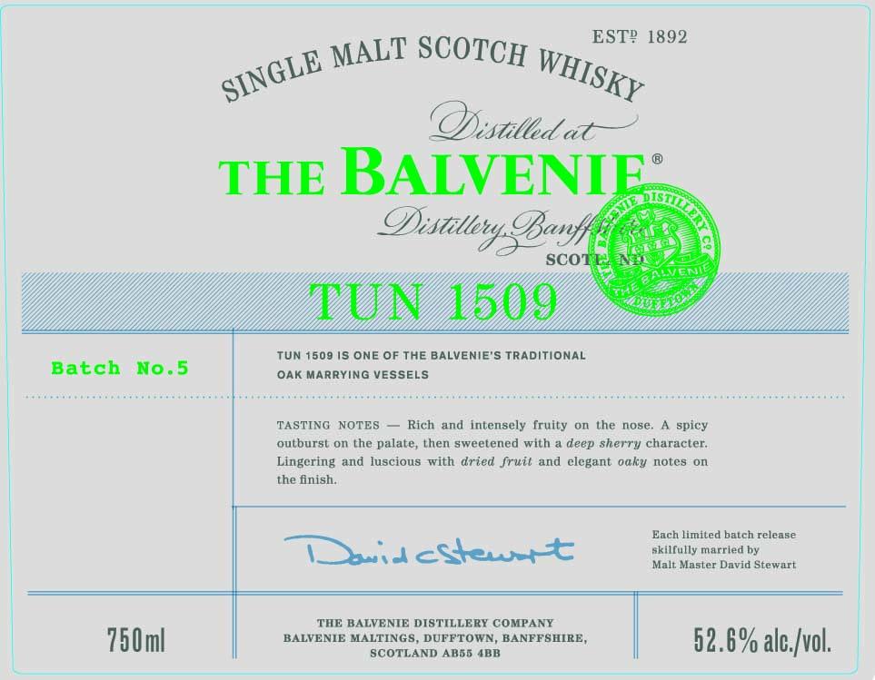 Balvenie TUN 1509 Batch 5 front label